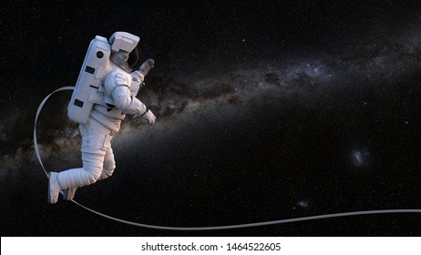 astronaut with safety tether performing a spacewalk in empty space (3d science rendering, elements of this image are furnished by NASA)