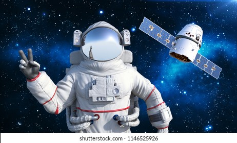 Astronaut with satellite showing victory sign, cosmonaut floating in space with spacecraft in the background, 3D rendering