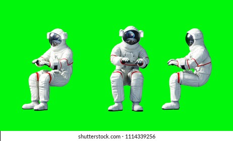 Astronaut sit idlle . Green screen. 3d rendering.