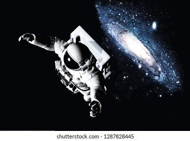 Astronaut in space against a starry sky., 3d render