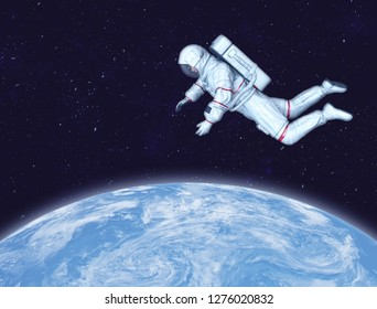 Astronaut in space, Planet Earth in background. Elements of this image furnished by NASA. 3D rendering.