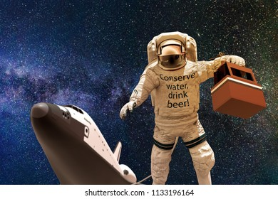 astronaut in space with some beers 3d illustration