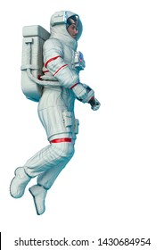 astronaut space walking in a white background. This super hero in clipping path is very useful for graphic design creations, 3d illustration