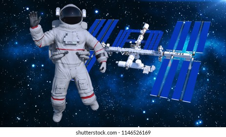 Astronaut in space waving above space station, cosmonaut with spacecraft in the background, 3D rendering