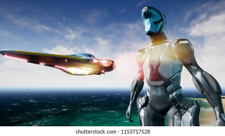 Astronaut and spaceship on alien planet. 3D Rendering.