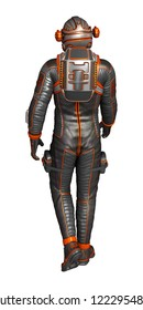 Astronaut in spacesuit from back, isolated on white. 3D rendering.