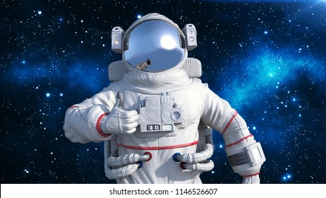 Astronaut in spacesuit showing thumbs up, cosmonaut floating in space, close up view, 3D rendering