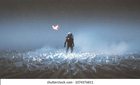 astronaut standing among flock of bird, single glowing unique bird flying around, digital art style, illustration painting