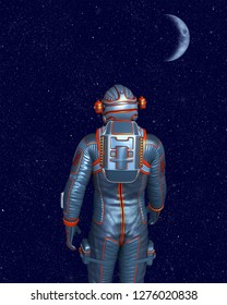 Astronaut standing and looking at moon and outer space. 3D rendering.