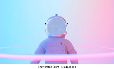 Astronaut standing in psychedelic color lighting. Abstract science fiction and astronomy surreal background. 3D rendering.