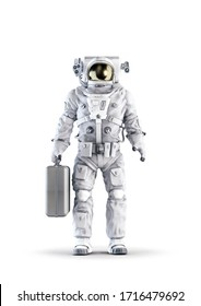 Astronaut with suitcase / 3D illustration of space suit wearing male figure holding large briefcase isolated on white studio background