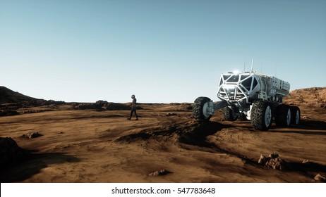 Astronaut walk on alien planet. Martian on mars. Sci -fi concept. 3d rendering.