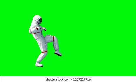 Astronaut walking . Green screen. 3d rendering.