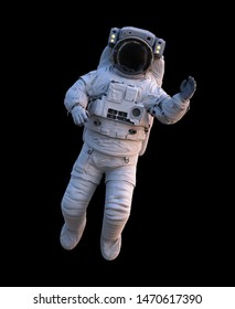 astronaut waving during space walk, isolated on black background (3d science illustration)