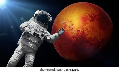 astronaut waving during a space walk in orbit of planet Mars (3d science render)