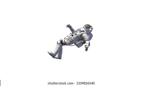 Astronaut in white modern scaphandre go in the space, 3d rendering background, computer generated backdrop