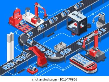 Astronautics research equipment conveyor on blue background isometric  illustration