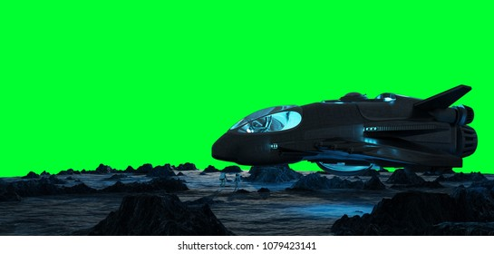 Astronauts exploring an asteroid with a futuristic spaceship 3D rendering