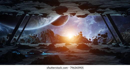 Astronauts exploring a huge asteroid alien spaceship in space 3D rendering elements of this image furnished by NASA