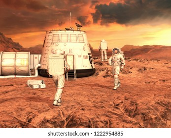 Astronauts  and Mars habitat on Planet Mars surface. 3D rendering.