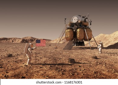 Astronauts Set An American Flag On The Planet Mars. 3D Illustration.