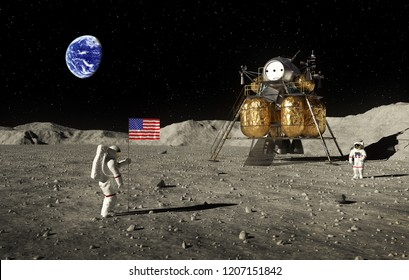 Astronauts Set An American Flag On The Moon. 3D Illustration.