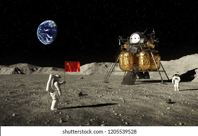 Astronauts Set An Chinese Flag On The Moon. 3D Illustration.