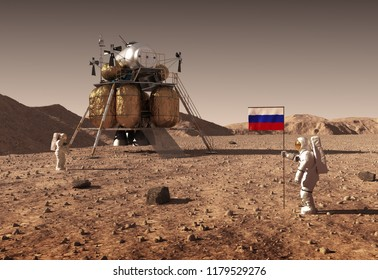 Astronauts Set An Russian Flag On The Planet Mars. 3D Illustration.