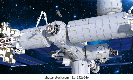 Astronauts working on space station, cosmonauts floating outside of spacecraft airlock, 3D rendering