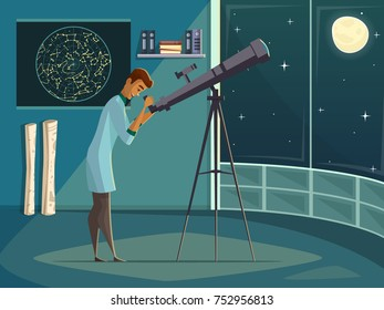 Astronomer scientist observing moon in night sky  through open window with telescope   retro cartoon poster  illustration