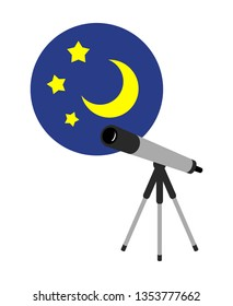 Astronomical observation with a telescope.