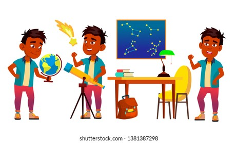 Astronomy, Astrophysics Student Cartoon Characters Set. Astronomy Faculty, Space Exploration. Stars Observing. Young Astronomer, Scientist Studying, Looking At Telescope Flat Illustration