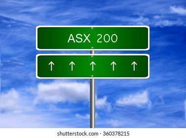 ASX 200 Australia index arrow going up stock exchange rising strong bull market concept.