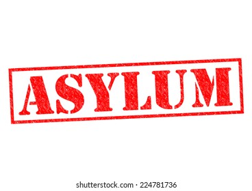 ASYLUM red Rubber Stamp over a white background.