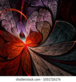 Asymmetrical fractal flower in stained-glass window style. You can use it for invitations, notebook covers, phone cases, postcards, cards, wallpapers and so on. Artwork for creative design.