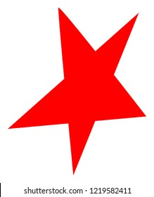 Asymmetrical star icon on a white background. Isolated asymmetrical star symbol with flat style.