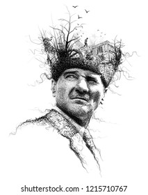 Ataturk illustration, Leader of Turkey,President drawing,collage art