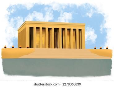 Ataturk Mausoleum in Ankara (anitkabir) Illustration