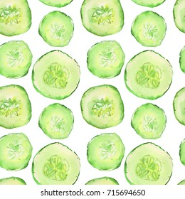 atercolor illustration of green cucumber vegetable pattern with slices isolated on white background