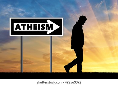 Atheism. Atheist silhouette man and arrow sign atheism
