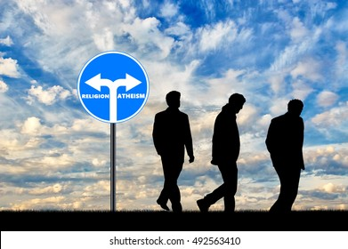 Atheism. Three men Atheists silhouette have chosen the direction of atheism near the road sign