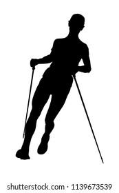 athlete man skyrunner with trekking sticks running
