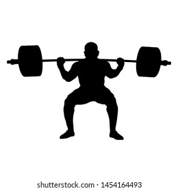 athlete powerlifter squat with barbell on shoulders of powerlifting. black silhouette on white background