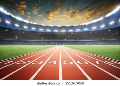Athlete running track with number on the start in a stadium . Evening scene .3d rendering