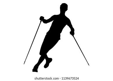 athlete skyrunner with trekking sticks running trail