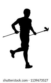 athlete skyrunner with trekking sticks running from mountain