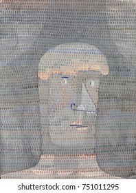ATHLETES HEAD, by Paul Klee, 1932, Swiss drawing, watercolor, gouache, and graphite on paper. Abstracted human heads with defined brow and thick neck painted in gray tones on a darker ground is overpa