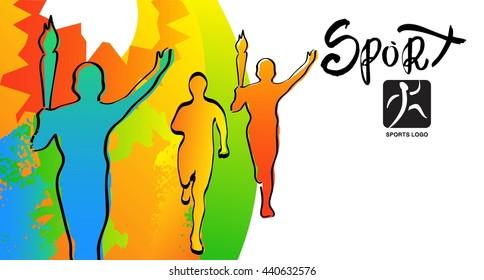 Athletes ink sketches. Torchbearer illustration. Runner sports cards, poster, illustration.Raster copy of vector file.