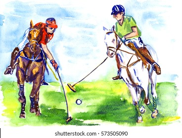 Athletes on horseback playing polo in the sunny summer day, hand painted watercolor illustration