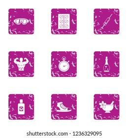 Athletic bodywork icons set. Grunge set of 9 athletic bodywork icons for web isolated on white background